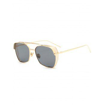 Double Metallic Crossbar Geometric Frame Sunglasses
