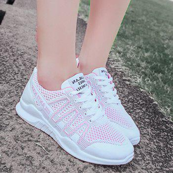 Lace Up Breathable Mesh Sneakers - RED 39
