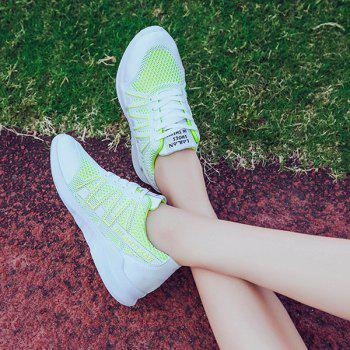 Lace Up Breathable Mesh Sneakers - GREEN GREEN