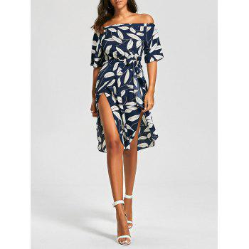 Off The Shoulder Leaf Print Slit Dress