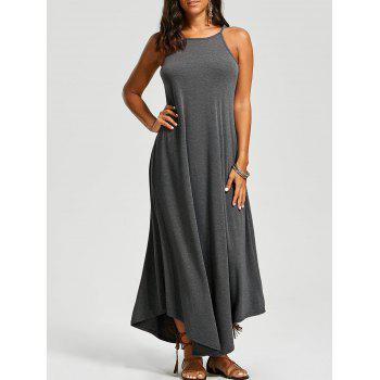 Sleeveless Asymmetrical Trim Maxi Dress