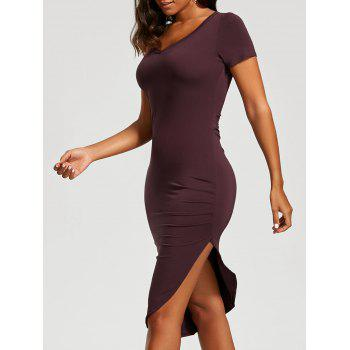 V Neck Asymmetrical Ruched Bodycon Dress