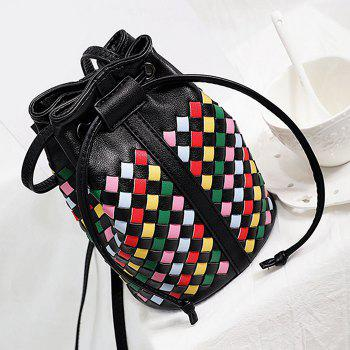 Drawstring Woven Mini Bucket Bag -  COLORMIX
