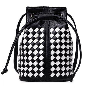 Drawstring Woven Mini Bucket Bag