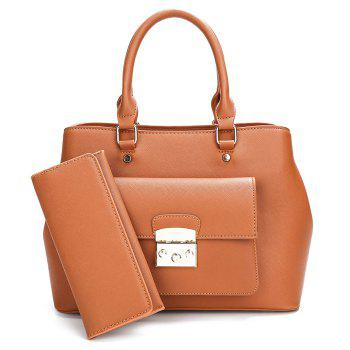 PU Leather Handbag and Clutch Wallet - BROWN BROWN