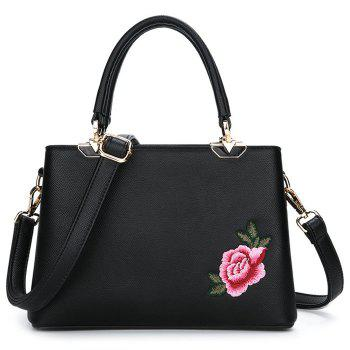 PU Leather Peony Embroidered Tote Bag - BLACK BLACK