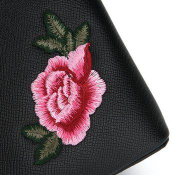 PU Leather Peony Embroidered Tote Bag -  BLACK