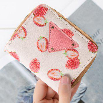 Bi Fold Fruit Print Small Wallet - RED RED