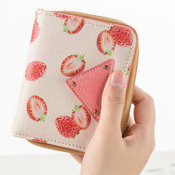 Bi Fold Fruit Print Small Wallet -  RED