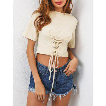 Lace Up Crop T-Shirt
