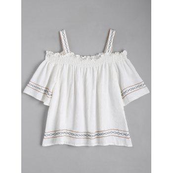 Geometric Embroidered Shirred Blouse