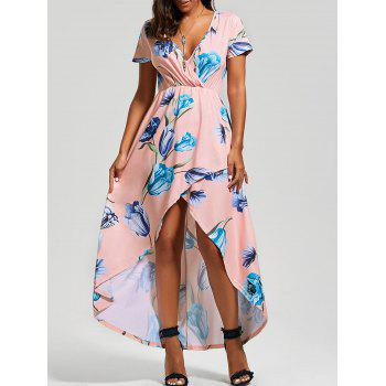 Floral Print High Low Surplice Dress