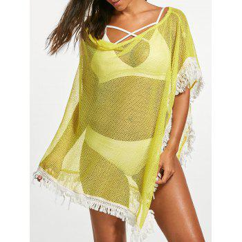 Tassel Fishnet Boxy Cover Up