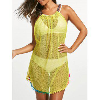 Knit Strap Fishnet Cover Up Dress