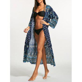 Bohemian Tribal Print Longline Cover Up