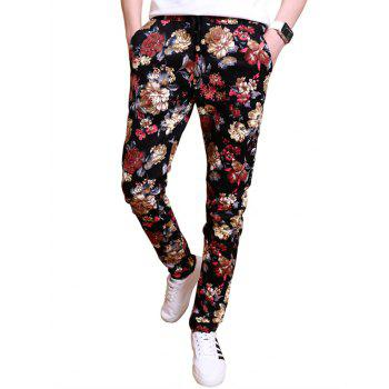 Drawstring All Over Flowers Printed Skinny Pants