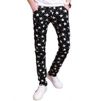 All Over Stars Pattern Zipper Fly Skinny Pants
