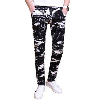 Zipper Fly All Over Printed Skinny Pants
