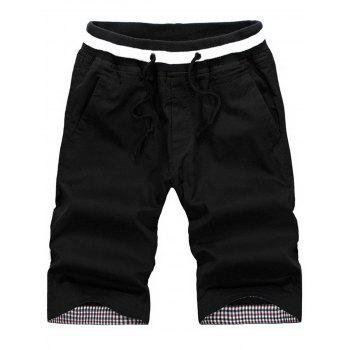 Pockets Drawstring Elastic Waist Shorts