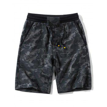 Pockets Drawstring Waist Camo Pattern Shorts