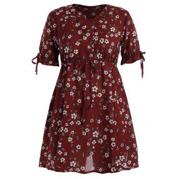 Plus Size Floral Chiffon Drawstring Mini Dress
