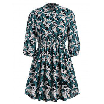 Plus Size Ruffle Collar Leaf Printed Flare Dress