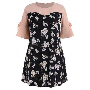 Plus Size Floral Printed Flare Sleeve Dress