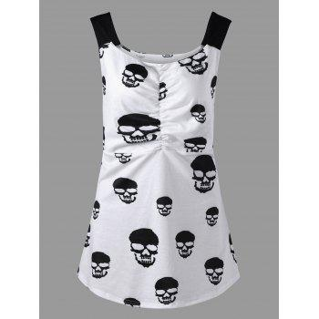 Skull Print Plus Size Ruched Tank Top