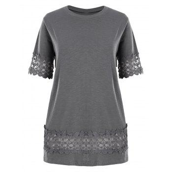 Plus Size Lace Crochet Trim Basic T-shirt
