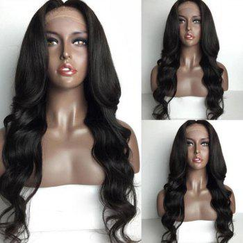 Long Loose Wave Middle Part Lace Front Human Hair Wig - NATURAL BLACK NATURAL BLACK