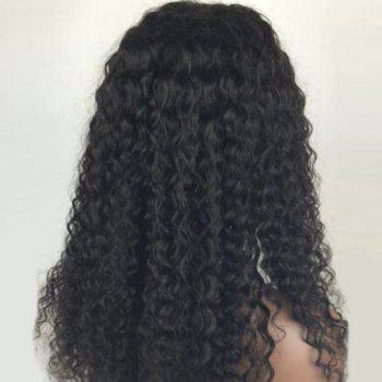 Long Shaggy Free Part Curly Human Hair Lace Front Wig - NATURAL BLACK