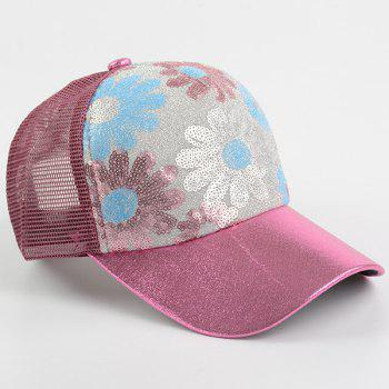 Mesh Spliced Flowers Pattern Sequin Baseball Cap -  WINE RED