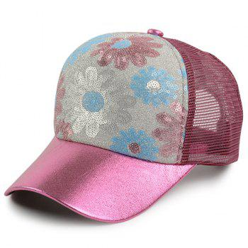 Mesh Spliced Flowers Pattern Sequin Baseball Cap - WINE RED WINE RED