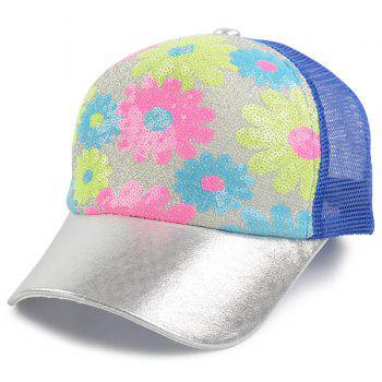 Mesh Spliced Flowers Pattern Sequin Baseball Cap - BLUE BLUE