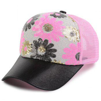 Mesh Spliced Flowers Pattern Sequin Baseball Cap