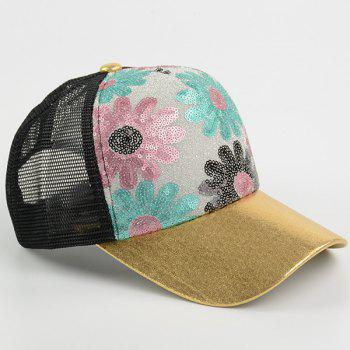 Mesh Spliced Flowers Pattern Sequin Baseball Cap -  BLACK WOOD