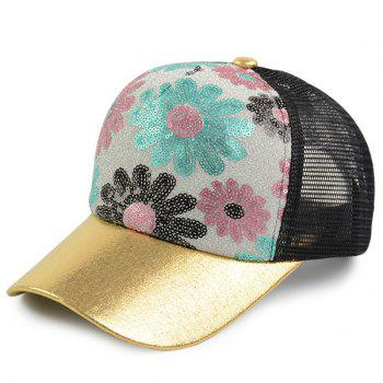 Mesh Spliced Flowers Pattern Sequin Baseball Cap - BLACK WOOD BLACK WOOD