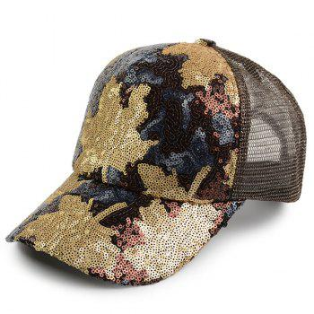 Maple Leaf Pattern Sequin Embellished Baseball Hat - BROWN BROWN