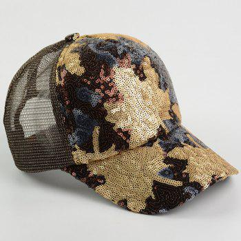 Maple Leaf Pattern Sequin Embellished Baseball Hat -  BROWN