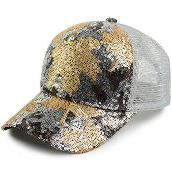 Maple Leaf Pattern Sequin Embellished Baseball Hat - WHITE WHITE