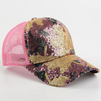 Maple Leaf Pattern Sequin Embellished Baseball Hat -  PAPAYA