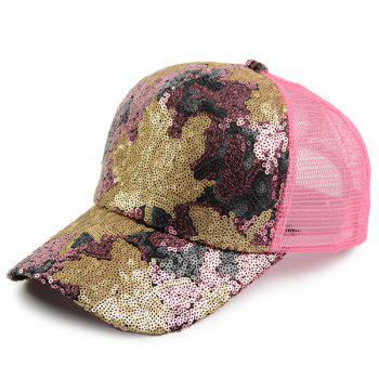 Maple Leaf Pattern Sequin Embellished Baseball Hat - PAPAYA PAPAYA