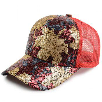 Maple Leaf Pattern Sequin Embellished Baseball Hat