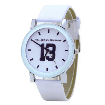 PU Leather Band Number Analog Watch - WHITE WHITE