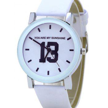 PU Leather Band Number Analog Watch - WHITE