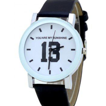 PU Leather Band Number Analog Watch -  BLACK