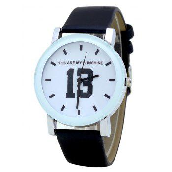 PU Leather Band Number Analog Watch - BLACK BLACK