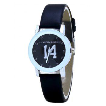 PU Leather Band Number Analog Watch - FULL BLACK FULL BLACK