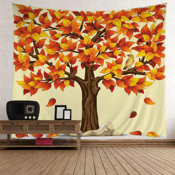 Tree Falling Leaves Wall Tapestry