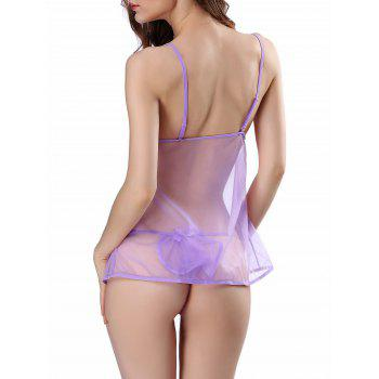 Ruffle Sheer Cami Babydoll - PURPLE 2XL